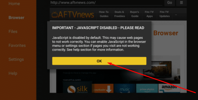 Enable JavaScript FireStick Syncler App